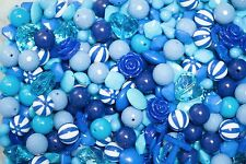 1 pound of Blue Chunky Beads Bubblegum Gum Ball Necklaces- Mixed Lot