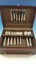 NEW SET OF PYRAMID STAINLESS STEEL BY GEORG JENSEN SERVICE FOR 6