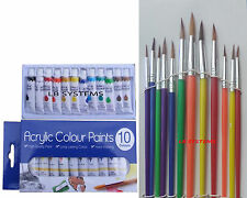 12 PC ROUND   ARTIST's BRUSHES + 10 TUBES ACRYLIC PAINT SET NEW