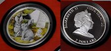 2011 Cook Is Large Silver Color Proof $2 Grey Rabbits