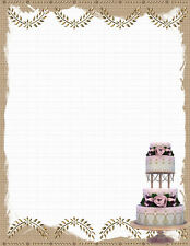 NEW Wedding Cake Printable Stationery Paper 26 Sheets