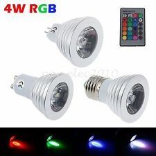 LED Light Bulb Lamp E27 MR16 GU10 4W Remote Controlled RGB Multi Color Spotlight