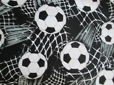 Soccer Ball Lets Play Soccer Sports Black White Cotton Fabric FQ