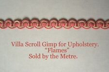 """Pink & Cream Upholstery Gimp """"Villa Flames"""" 12mm wide (sold by the Metre)"""