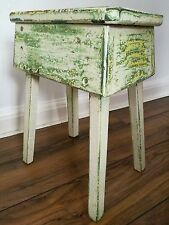 Superb Early Vintage Antique Painted Wooden Milking Stool Kitchen