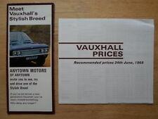 VAUXHALL RANGE 1968 UK Mkt Brochure + Price List - Viscount Ventora Cresta Viva
