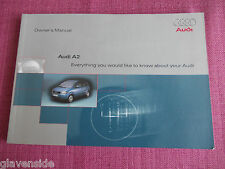 AUDI A2 OWNERS GUIDE - OWNERS MANUAL - OWNERS HANDBOOK. (AU 384)