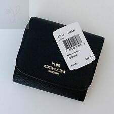 NEW COACH AUTHENTIC CROSSGRAIN LEATHER TRIFOLD SMALL WALLET BLACK F53716 $99