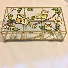 Stained Glass Yellow Birds Flowers Mirrored Jewelry Box Made inTaiwan Interpur