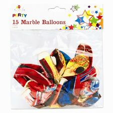 MARBLE EFFECT BALLOONS X 15 RAINBOW COLOURS SWIRL QUALITY