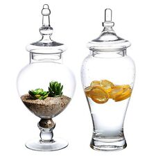 Large Clear Glass Apothecary Wedding Set 2 Decorative Jars Candy Buffet Jar