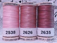 3 Pink GUTERMANN 100% cotton hand thread for Quilting 220 yard Spools
