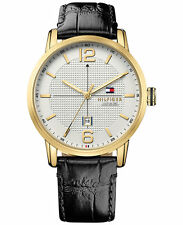 NEW Tommy Hilfiger Men's Casual Sport Black Leather Strap Watch 44mm 1791218