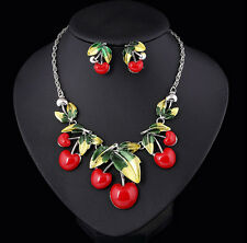 Fashion Sweet Temptation Apple Pendant Enamel Leaf Fruit Necklace Earring Set