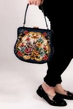 40s 50s Vintage blue floral tapestry embroidered needlepoint evening bag