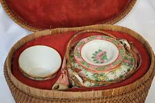 1860 Vintage Chinese Porcelain Travel Picnic Tea Set in Woven Basket Export