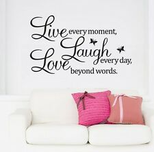 PVC LIVE LAUGH LOVE Letters Removable Room Art Mural DIY Wall Sticker Decal JT12