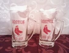 2 Vintage 1960s Boston Red Sox/Fenway Park Glass Mugs in VGUC