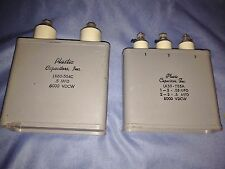 Pair of Vintage Plastic Can Capacitors,Inc - LK60-504C and LK50-555 - VGC
