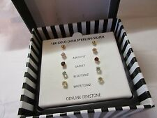 multi gemstone set stud earrings 18k gold over silver (victoria townsend/macy's)