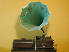c1903 Edison Home Phonograph w/ Large Green Painted Horn Cylinder Record Player