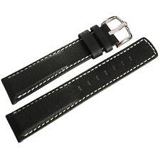 22mm Hirsch Mariner Mens Black Waterproof Leather White Stitch Watch Band Strap