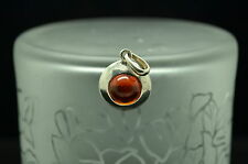 925 STERLING SILVER ROUND ORANGE AMBER SOLITAIRE PENDANT CHARM #B2831