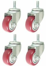 4 Pack 3 Inch Caster Wheels Swivel Plate with Stem On Red Polyurethane PU 880LB