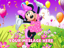 MINNIE MOUSE PERSONALISED EDIBLE IMAGE ICING CUSTOM CAKE DECORATION TOPPER