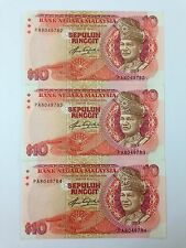 (JC) 3 pcs RM10 5th series Signed Aziz Taha First Prefix PA 8049782 - 784 - UNC