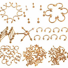 Wholesale 40pcs Gold Tongue Lip Belly Navel Eyebrow Rings Body Piercing Jewelry