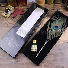 Peacock Feather Quill Dip Pen Ink Set Stainless Steel Handle With Box Gift