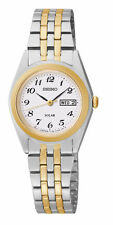 Ladies Seiko Solar Gold Silver Stainless Steel White Dial Watch Day Date SUT116