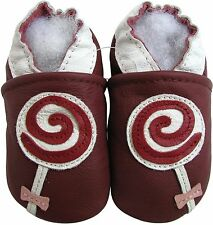 carozoo  lollipop dark red 18-24m soft soled leather baby shoes
