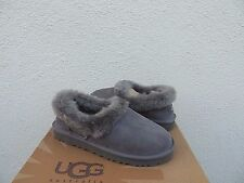 UGG NITA GREY SUEDE/ SHEEPSKIN CUFF SLIPPERS, WOMEN US 12/ EUR 43 ~ NIB
