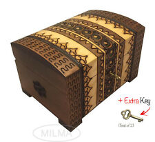 Polish Handmade Wooden Chest Linden Wood Jewelry Keepsake Box w/Lock and Key