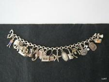 "Vintage STERLING SILVER CHARM BRACELET 7"" Inch 42 Grams Hearts Ship House EUC"