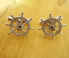 ONE PAIR SHIPS WHEEL STERLING SILVER CUFFLINKS