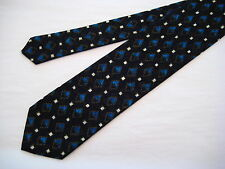 Santostefano Italy 100% Silk Neck Tie from Syd Jerome - Black/Ivory/Blue