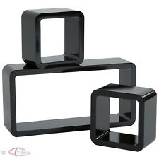 Set of 3 wall shelves schelf units CD book storage cubes lounge display black