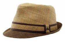 Tommy Bahama Men's Two-Tone Natural Burnt Raffia Straw Fedora Hat Sz: L
