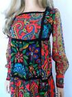 Vtg 1960s 70s NeOn FLoWeR PsYcHeDeLiC Paisley PaTcHwOrK HiPPiE Dress WooDsToCk M