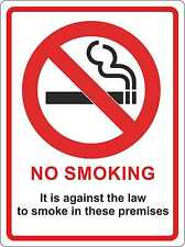 NO SMOKING 140mm x 105mm Premises Shop Office Warehouse Law Legal