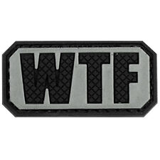 PVC Morale Patch WTF Sliver Black 3D Badge Hook #43 Paintball Airsoft