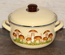 Topf Emaille mit Deckel Pilzemuster Email Traditionell Kochtopf 20 cm 3,3l