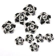 10pcs Black Enamal Flower Cell phone case cabochon flatback decoden deco kit