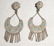 Antique Edwardian Sterling Silver Filigree & Turquoise Set Dangle Earrings