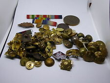 Job Lot of WW1 and Later British Army / RAF & Colonial Buttons / Badges / Medals