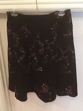 NWT Tribal Black Corduroy w/ Pink EMBROIDERY Skirt Womens 4