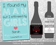 Personalised Wine Champagne Bottle Label Bridesmaid Maid Of Honour Need My Girls